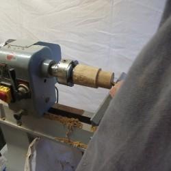 prise mandrin verre sur pîed tournage sur bois